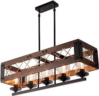 Modern Vintage Chandelier Lighting Pendant Lamp with Rectangular Wooden Frame and Metal Black Finish for Dining Rooms, Kitchen, Bar, Hotel, Length 32