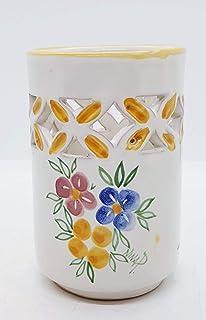 Bicchiere Portaspazzolini Linea Tris di Fiori Ceramica Realizzato e Dipinto a mano da Le Ceramiche del Castello Nina Palom...