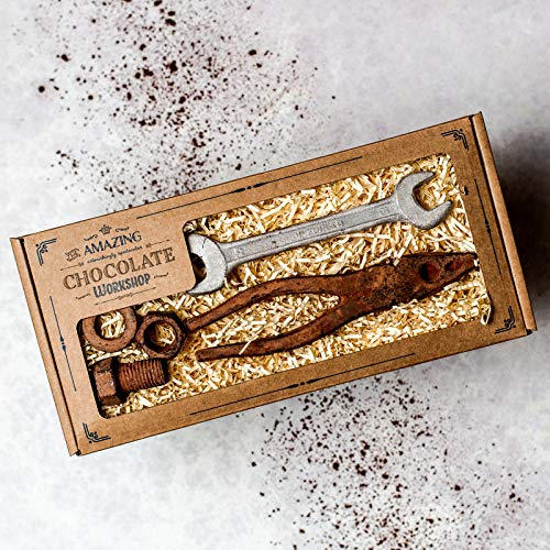 Realistisches Schokoladen Werkzeug-Geschenkset - Schraubenzieher, Zange, kleine Nuss, Bolzen & Unterlegscheibe, vegan, und handgefertigt