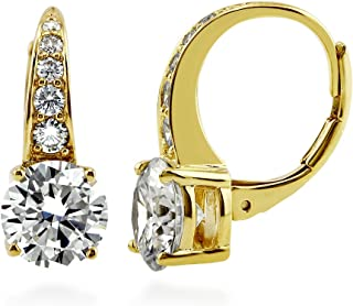 BERRICLE Yellow Gold Flashed Sterling Silver Cubic Zirconia CZ Leverback Wedding Dangle Drop Earrings