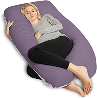 QUEEN ROSE Pregnancy Pillow, U-Shaped Full Body Pillow for Back Support with Satin Cover for Anyone,Purple and White