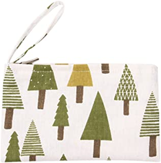 Caixia Women's Cotton Christmas Tree Print Canvas Tote Shopping Bag Beige