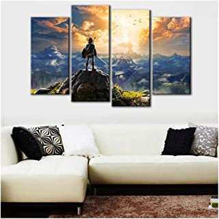 MTlzh 4 Pieces/Set of Canvas Picture Wall Art Game Painting Home Decoration Poster Living Room (no Frame)