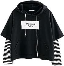 Aniywn Women Girls Patchwork Pullover Hooded Ladies Casual Stripe Printed Long Sleeve Sweatshirt Tops