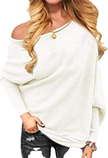 Womens Casual Off Shoulder Knit Jumper Long-Sleeve Pullover Baggy Solid Sweater