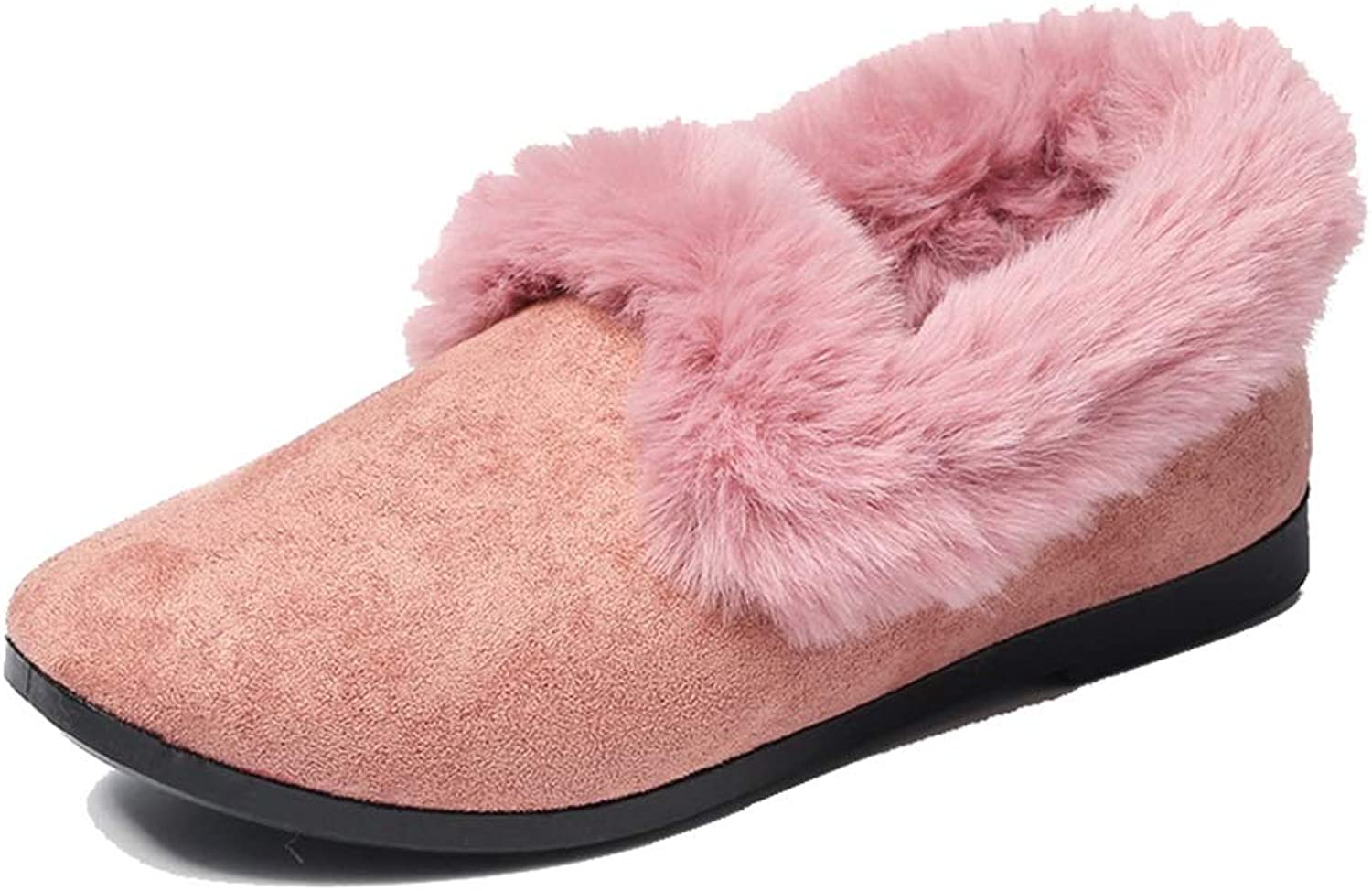 August Jim Women Fluffy Flat shoes,Round Toe Cotton Casual Loafers Mom