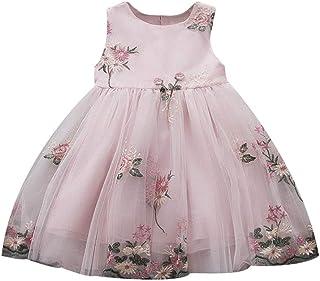 2dc5120cfcbd5 LUBITY Fille Robe de Mariée Robe de Maille de Fleur de Broderie sans Manches  pour Enfants