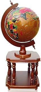 FEE-ZC Explore The World World Globe World Globe 3D Embossed Solid Wood Globe Earth Globe -for Educational Geographic Floo...