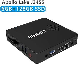 Mini PC de Escritorio Quad-Core Procesador Intel Celeron Apollo Lake J3455 (hasta 2.3GHz), 6G DDR3 /SSD 128GB Windows 10 Pro (64-bit) HDMI y VGA HD Display Dual WiFi USB 3.0 / BT 4.2 DIY M.2 NGFF SSD