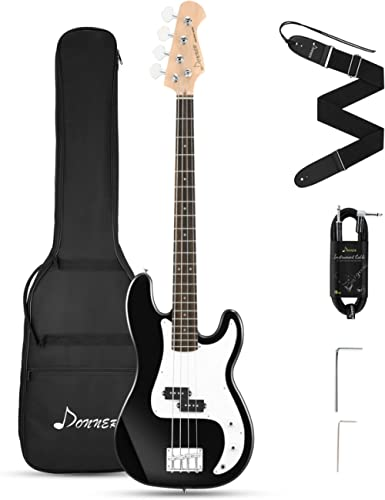 Donner Electric Bass Guitar 4 Strings Full Size P Bass Beginner Kit Black for Starter with Gig Bag, Guitar Strap, and...