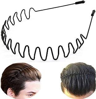 XINGZHE Metal Headbands for Men Women Hair Hoop, Unisex Black Wavy Spring Headband for Mens Hairband, Fashionable Waterpro...