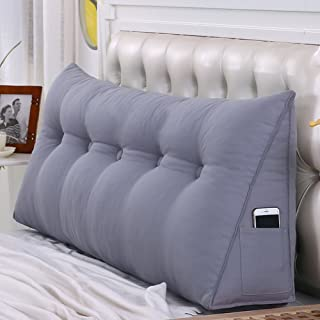 Solid Color Tatami Bedside Back Cushions,Triangular Wedge Reading backrest Cushion,Three-Dimensional Sofa backrest, Headboard Cushion,Washable-Gray 19x7x19inches(502050cm)