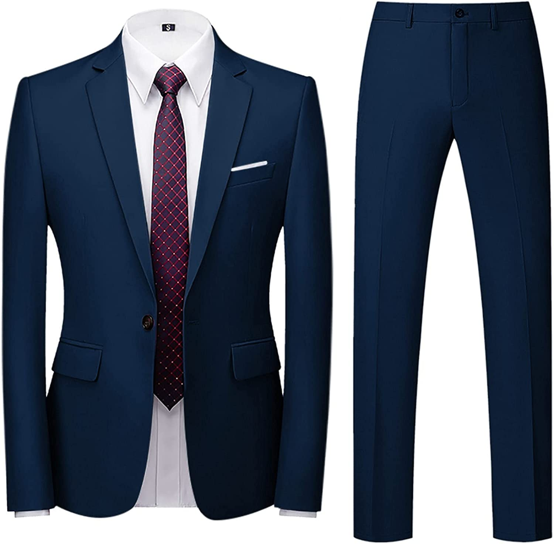 FORUU Wedding Suits for Men Elegant Men Suit Slim 2-Piece Suit Business Wedding Party Jacket Top & Pants Wedding Tuxedos