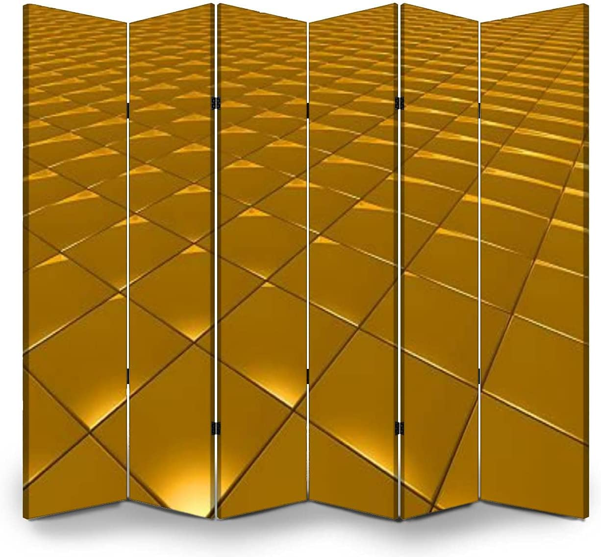 55% OFF New Shipping Free Shipping 6 Panel Wall Divider 3D Abstract Square Pattern Gold Folding Can