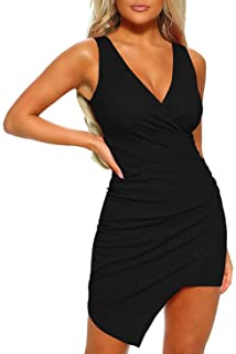 Gracyoga Women's Sexy Summer Bodycon Sleeveless Ruched Party Mini Cocktail Club Dress
