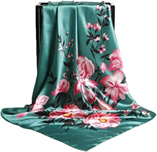 Fashion Lady Scarf 90cm Large Square Print Soft Headscarf Scarf (Color : 01, Size : 90 * 90cm)