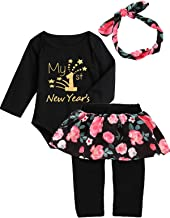Mutiggee My First New Year Outfit Baby Girls Floral Pant Clothing Sets