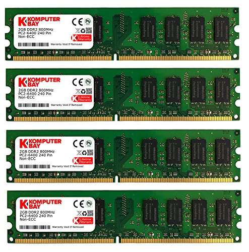 Komputerbay - Módulo de Memoria (SO-DIMM, 8 GB, 4 Unidades de 2 GB, 240 Pines, 800 MHz, PC2-6400, PC2-6300, DDR2)