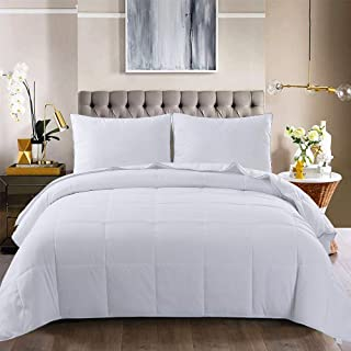 Jaoul White Down Alternative Quilted Comforter Bed Set All Season Premium Soft Warm Washable Microfiber Reversible Lightweight Bedding Comfort Twin Size White