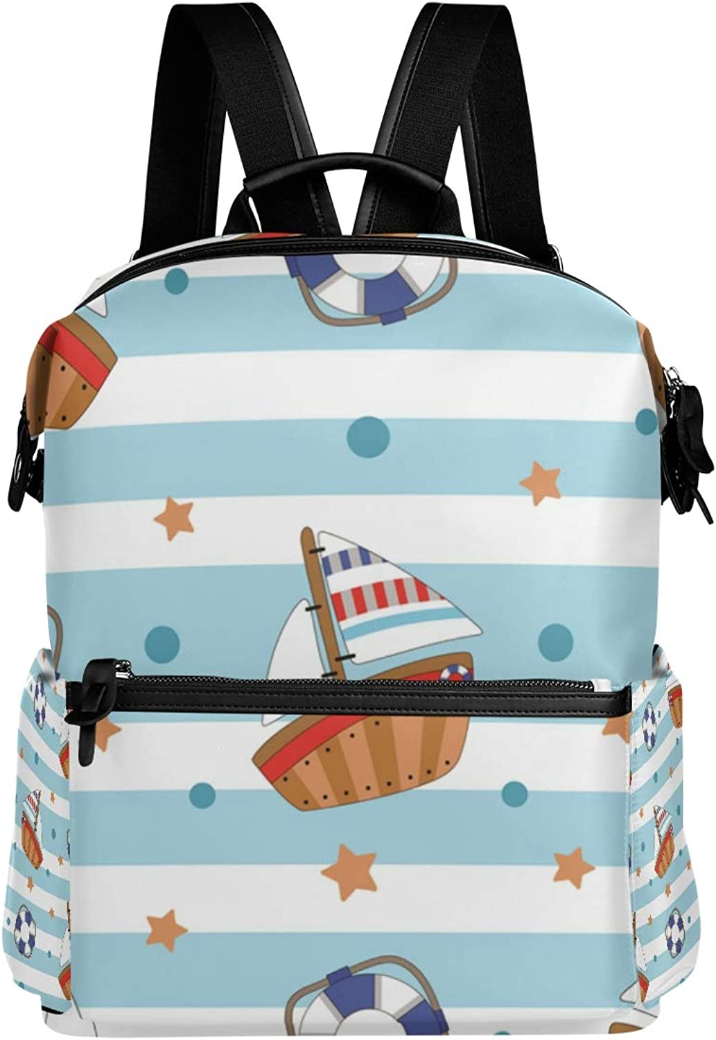 MONTOJ Cruise Ship Cute Painting Leather Travel Bag Campus Backpack