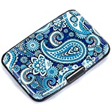 Elfish Mini RFID Aluminum Wallet Credit Cards Holder Business Card Case Metal ID Case for Men Women (Blue flower)