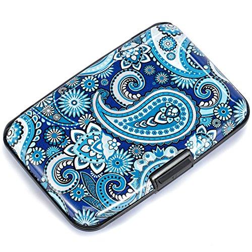Elfish Mini RFID Aluminum Wallet Credit Cards Holder Business Card Case Metal ID Case for Men Women (Blue flower)