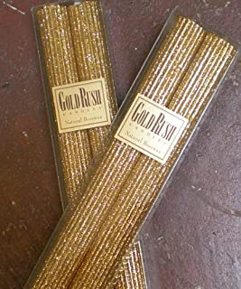 12 Inch Natural Beeswax Glitter Candles, Gold Color, Boxed Set of 2 candles
