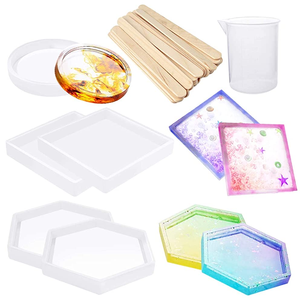 7 Pack Resin Casting Molds DIY Silicone Coaster Resin Molds Big Designs Jewelry Box Molds Epoxy Casting Molds Including Hexagon,Square,Round Mold with Mixing Cups Wood Sticks for Jewelry DIY Craft