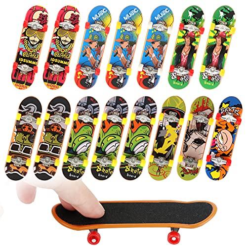 Anruyi 15Pcs Mini Skates para Dedos Monopatines de Juguete para Dedos Mini Finger Skateboard para Niños Patinetas Dedo para Regalos(9.6x2.5x1.3cm,Color Aleatorio)