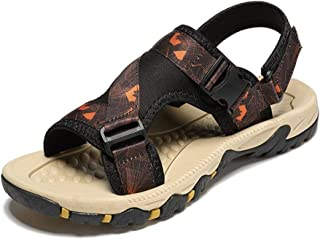 SHENTIANWEI Outdoor Sandals for Men Casual Beach Shoes Open Toe Soft Knit Pattern Buckle up PU Leather Hook&Loop Strap Anti-Slip (Color : Orange, Size : 6 UK)
