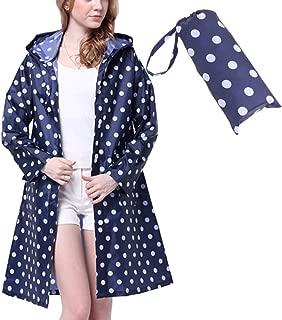 Rain Coat,Waterproof Raincoat,Portable Rain Poncho for Unisex,Women Polka Dot with Pockets