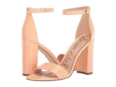 Sam Edelman Yaro Ankle Strap Sandal Heel (Peach Fizz Patent Stone Croco) Women