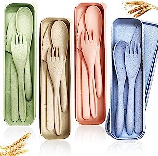 4 کارد و چنگال نان گندم ، کارد و چنگال قابل حمل ، چنگال چاقوی قاشق قابل استفاده مجدد ، سرویس کارد و چنگال قاشق چنگال قاشق برای کمپینگ پیک نیک مسافرتی کودکان یا استفاده روزانه (4 رنگ)