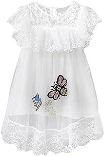 ELU団子ファッションの女の子は王女のドレスをひもで締めます リトルビースパンコールドレス フォーマルドレス 子供 キッズドレス 女の子 キュート 子供服 ノースリーブ レース 可愛い 誕生日 結婚式 パーティードレス ファッション おしゃれ ワンピース (ホワイト, S)