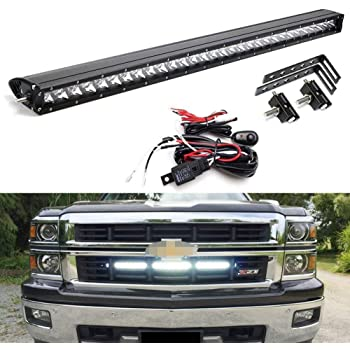 amazon.com: ijdmtoy behind grille mount 30-inch led light bar compatible  with chevy 2014-16 silverado 1500, 2014-19 2500 3500 hd, (1) 150wcree led  lightbar, mesh grill mounting brackets & on/off switch wiring: automotive  amazon.com