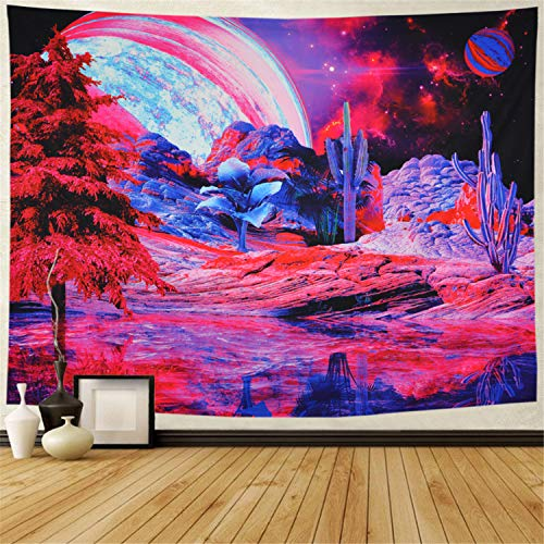 Galoker Trippy Tapestry Psychedelic Planet Mountain Wall Tapestry Galaxy Tapestry Space Cactus Tapestry Mysterious Nebula Tapestry Wall Hanging for Home Decor(H51.2×W59.1 inches)