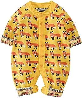 Mornyray Unisex Babies Spring&Spring Long Sleeve Romper Cotton Fox Pattern Knit Jumpsuit