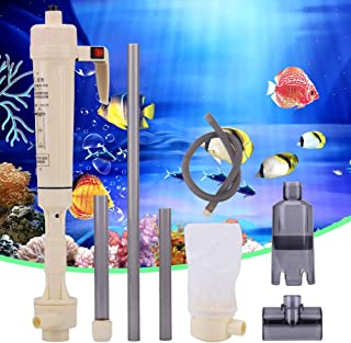 Gravel Cleaner, Battery Powered Aquarium Gravel Cleaner Fish Tank Siphon Water Aquatic Pet Change Cleaning Tool Electric A...