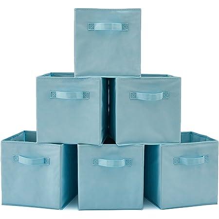 EZOWare Boîtes de Rangement Ouvertes en Textile Non-Tissé, Tiroir en Tissu, Pack de 6, pour Linge, Jouets, Vêtement, Disques DVD etc. (Bleu Clair)