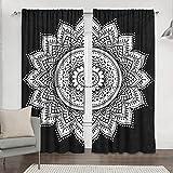 Sophia-Art - Cortinas Indias de Color Blanco y Negro con diseño de Flores para Puerta, Ventana, balcón, Cortinas de Mandala Bohemias, Cortinas Hechas a Mano