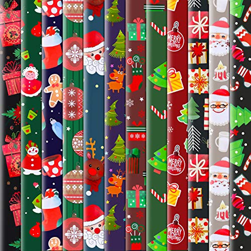 Konsait 12Pack Folded Large Sheets of Christmas Wrapping Paper Traditional Gift Wrap, Christmas Decoration,Xmas Festive Designs- Kids Snowman, Santa, Christmas Tree, Snowflake, Reindeer, 74 X 51cm