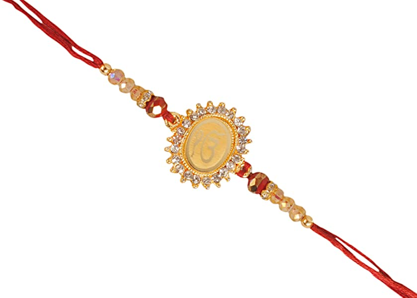 EK OMKAR Design Based PENDAL with DAIMONDS & Beads Rakhi for Bhaiya Brother/Sisters,Traditional Rakhi,Thread,Bracelet for Rakshabandhan Festival