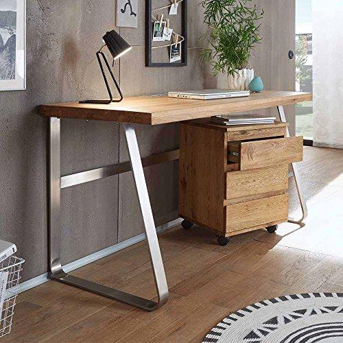Pharao24 PC Schreibtisch aus Asteiche Massivholz Edelstahl Optik