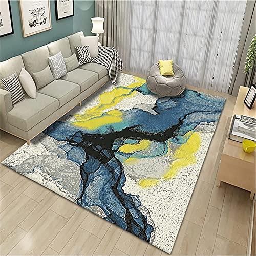 Alfombra para habitacion,Alfombra Amarilla, el patrón de Tinta es fácil de Limpiar, fácil de Comprar Alfombra a Prueba de Humedad Suave ,alfombras Pasillo a Medida -Amarillo_200x230cm