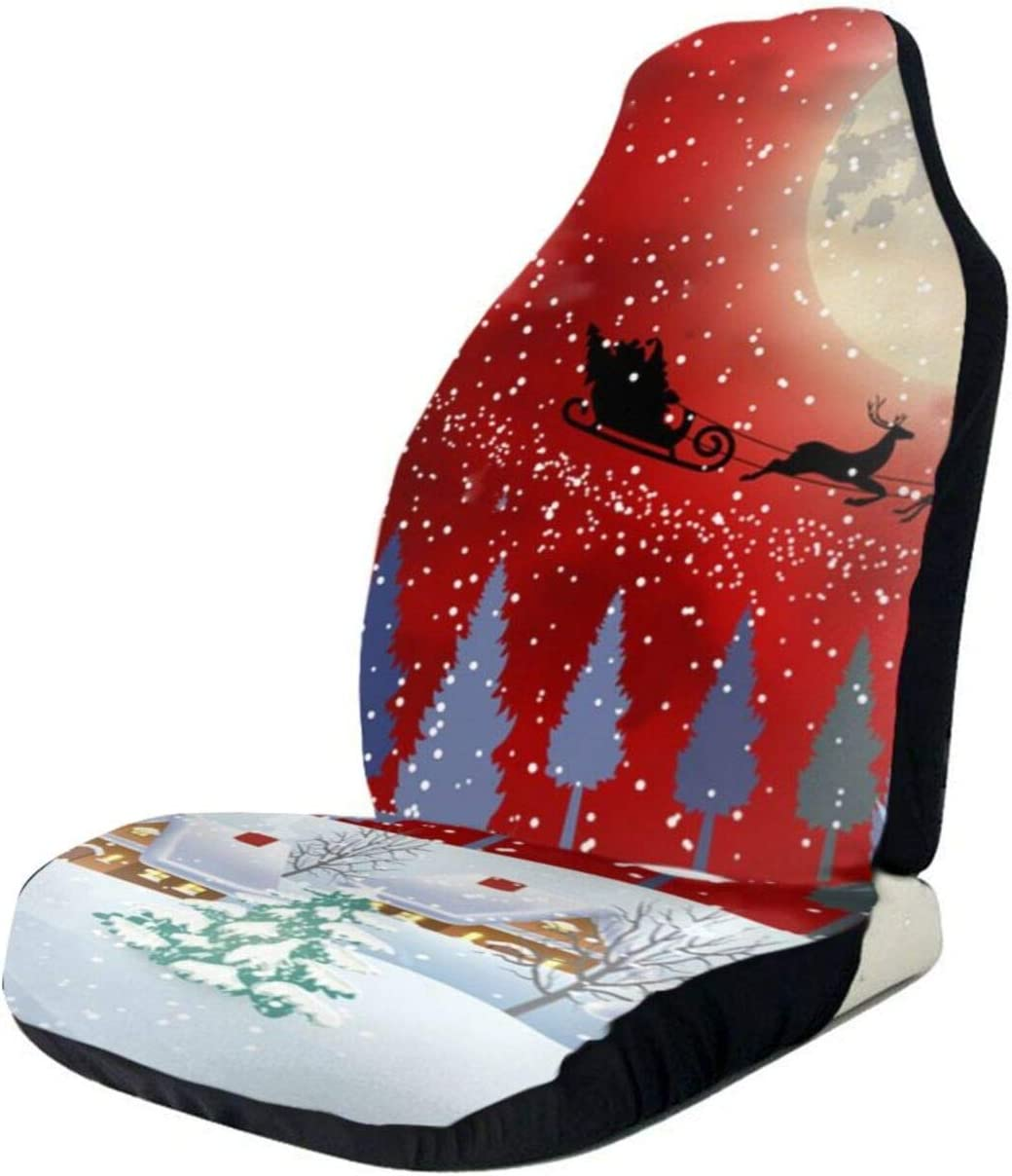 Large-scale sale Ranking integrated 1st place Christmas Snowman Tree Grunge Car Seat Cover Front Only Seats Fu