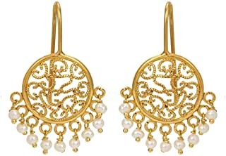 Gehna 18k (750) Yellow Gold and Pearl Drop Earrings for Women
