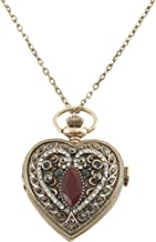 Sarah Coventry Women's Heart Shaped Victorian Watch Locket Necklace, 30