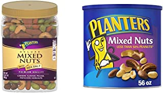 PLANTERS Deluxe Salted Mixed Nuts, 34 oz. Resealable Canister & Mixed Nuts with Sea Salt, 56 oz. Resealable Canister - Roa...