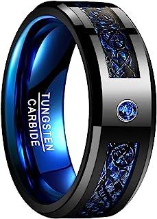 NUNCAD Celtic Dragon Blue Tungsten Carbide Wedding Band Ring for Men 8mm Blue Carbon Fiber Size N? to Z+3