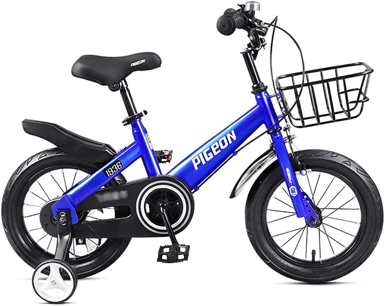 GAIQIN Langlebig Kinderfahrrad Fahrrad 3-4-5-7-8 Jahre Alter Junge und Mdchen Handbremse, Kontrolle der Sicherheit (mit Korb) (Farbe   Blau, gre   16inch)
